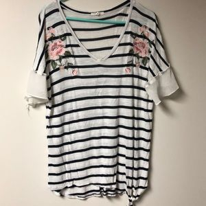 MAURICES XL STRIPE FLOWER EMBROIDERED SHEER SLEEVE